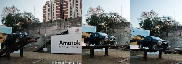 3 photos of truck on obstacle course